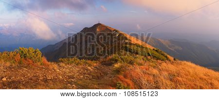 Panorama of mountains with path. Autumn landscape in the morning. Carpathians, Ukraine, Europe