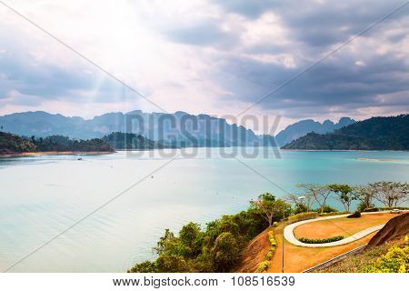 Beautiful mountains landscape with water, green trees and bushes under sunhine in Thailand, Krabi province