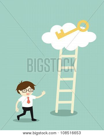 Business concept, Businessman going to climb the ladder for get a golden key. Vector illustration.