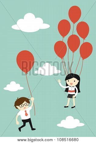 Business concept, Business woman flying higher than businessman. Vector illustration.