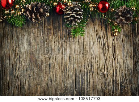 Christmas Frame. Christmas Fir Branches On Wooden Background