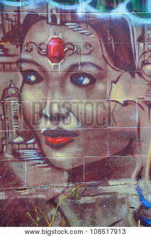 Street art indian queen