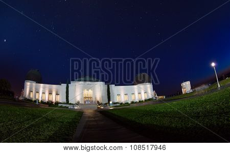 Night view of Griffith Observatory with lights