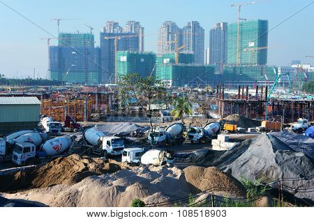 Asian City, Construction Site, Build Apartment Building