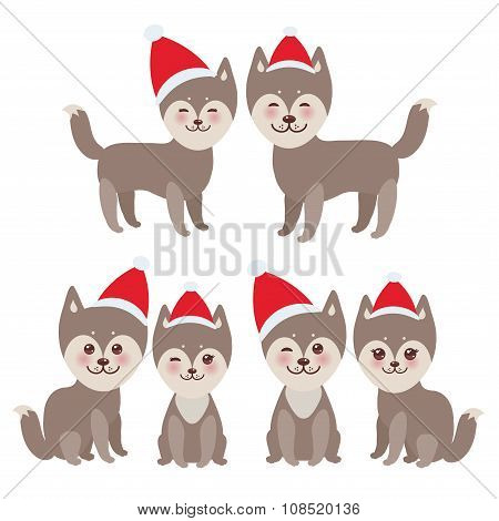 New Year  And Christmas Funny Brown Husky Dog In The Red Hat, Kawaii Face With Large Eyes And P