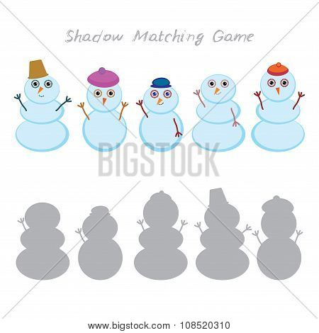 Set of cute cartoon funny snowman isolated on white background, Shadow Matching Game for Preschool C