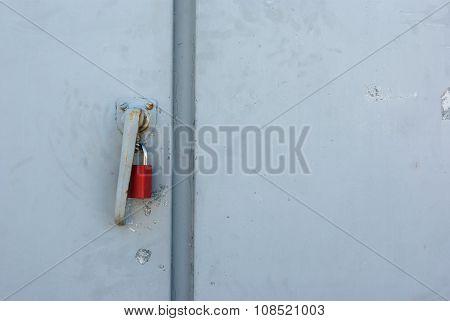 red padlock door lock