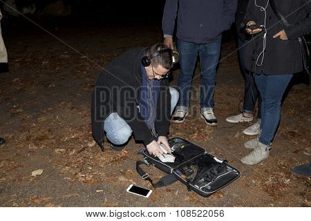 Ron Yacovetti Checks His Equipment During Paranormal Investigation
