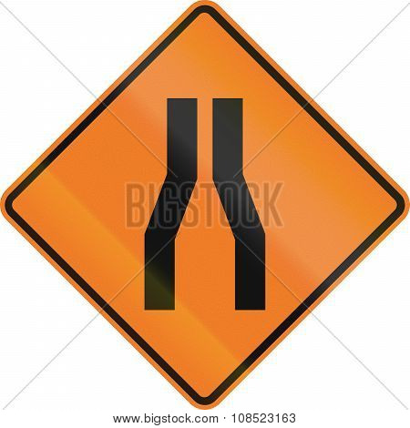 New Zealand Road Sign - Road Narrows On Both Sides