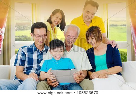 Asian three generations famly