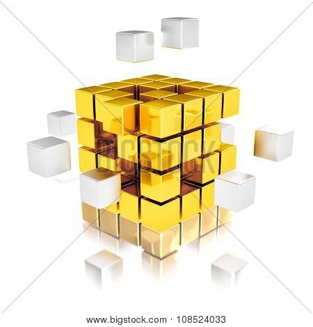 Teamwork concept - metal cubes assembling into gold one