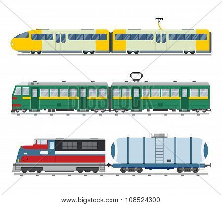 Modern and vintage trains vector collection