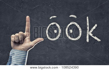 Look word with fingers instead of letter L