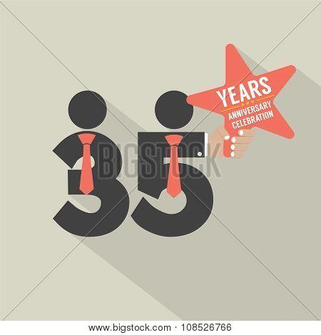 35 Years Anniversary Typography Design.
