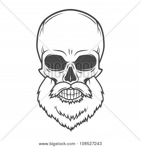 Evil Bearded Jolly Roger logo template. Old biker t-shirt design. Rock and roll insignia concept.