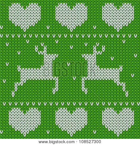 Green Knitted Deers Sweater In Norwegian Style. Knitted Scandinavian Ornament. Vector Seamless Chris
