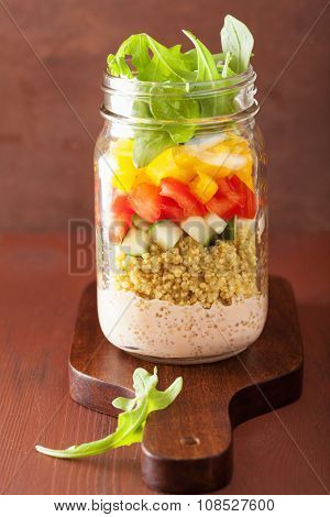 vegan quinoa vegetable salad in mason jar