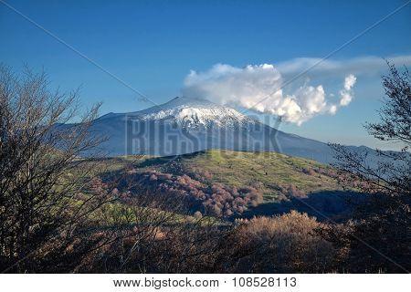 Etna Volcano emit white volcanic gas from Nebrodi Park, Sicily