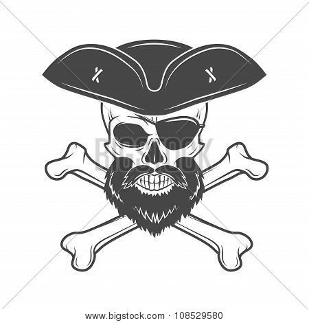 Pirate skull in cocked hat with beard, eye patch and crossed bones vector. Edward Teach portrait. Co