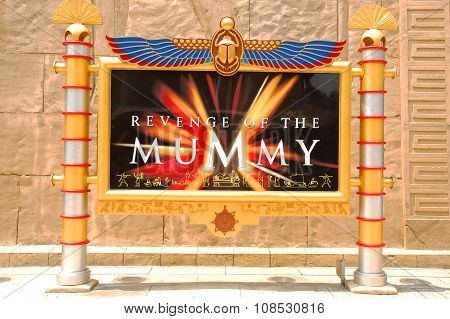 Revenge of the Mummy sign in Universal Studios Singapore