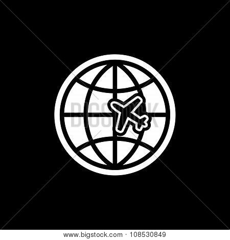 The Globe and plane travel icon. Shipping symbol. Flat
