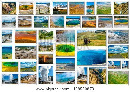 Yellowstone landmarks collage