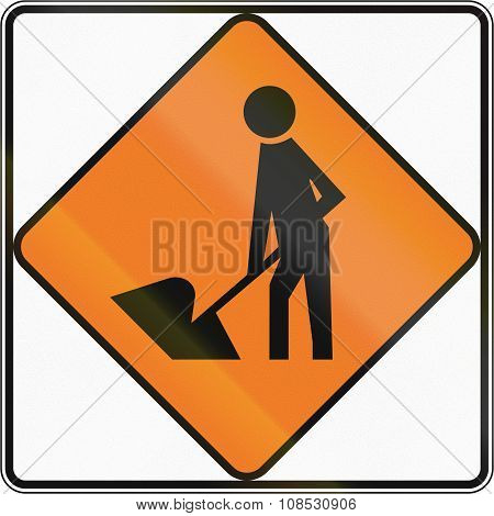 New Zealand Road Sign - Road Workers Ahead, Use Extra Caution