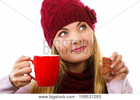Dreaming Woman In Woolen Cap And Shawl With Gingerbread Cookies And Tea, White Background, Christmas