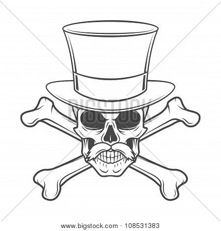Outlaw skull with mustache, high hat and crossbones portrait. Crossbones head hunter logo template.