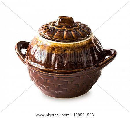 pottery bowl with handles and lid isolated on white background