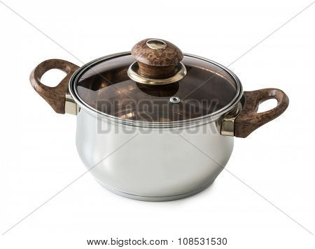 new steel pot with glass lid isolated on white background