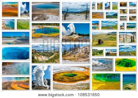 Yellowstone hot spring collage