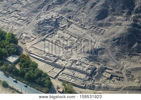 Aerial View Of Ancient Ruins Near Nasca, Peru.