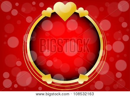 Abstract Gold Hearts And Circle For Valentines Day Background