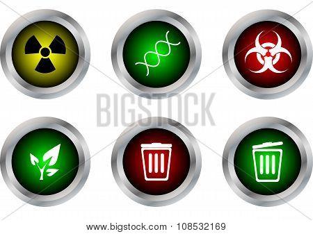 Vector Button Symbol ,radioactive,dna,biohazard,ecology,bin Close,bin Open