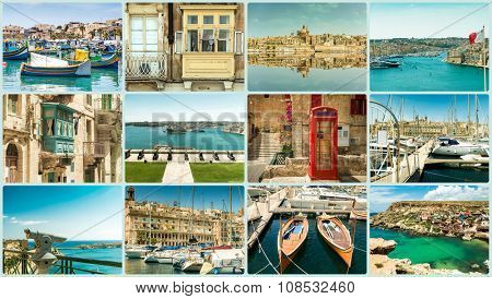 collage of a trevel photos from the cities of Malta