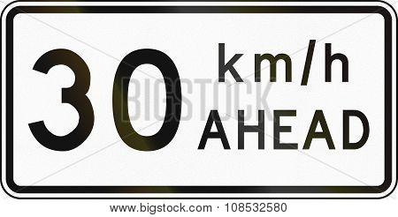New Zealand Road Sign - Road Works Speed Limit Ahead, 30 Kmh
