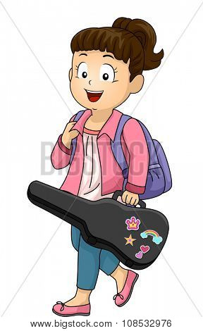 Illustration of a Little Girl Carrying a Violin Case