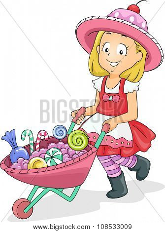 Illustration of a Little Girl Pushing a Wheelbarrow Full of Candies