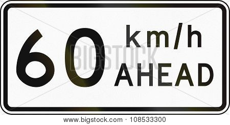 New Zealand Road Sign - Road Works Speed Limit Ahead, 60 Kmh