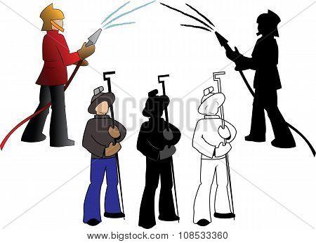 Silhouettes  Firefighters Fnd Steelmaker