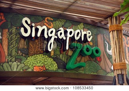 Singapore Zoo sign in Singapore