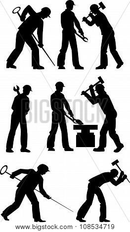 Silhouettes Of Working Steelmakers