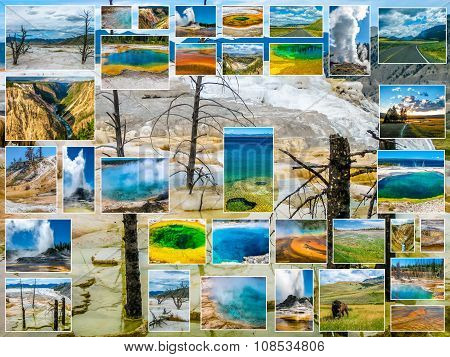 Mammoth Hot Springs Collage
