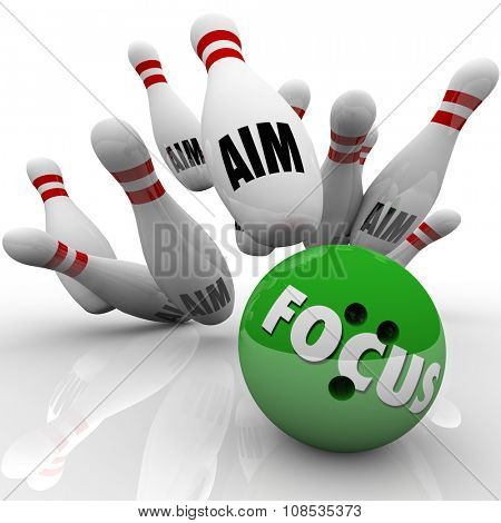 Focus word on a green bowling ball striking pins marked Aim to illustrate targeting and successfully hitting your goal