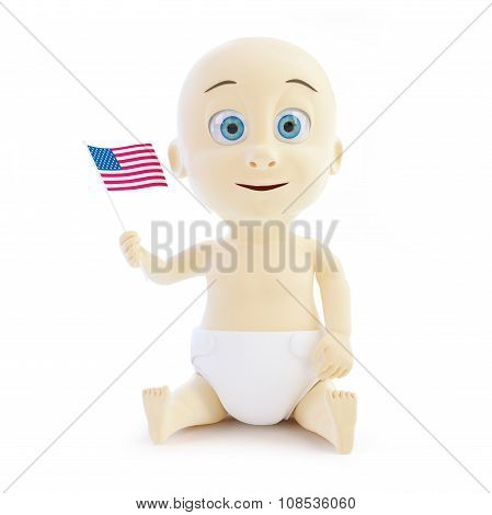 Cheerful Child Holding A Us Flag