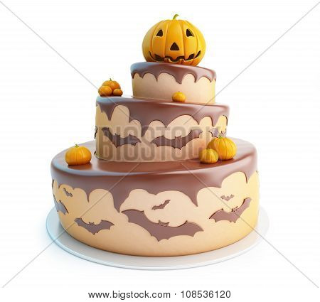 Halloween Cake 3D Illustrations On A White Background