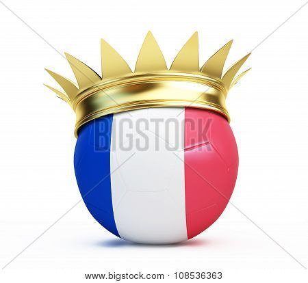 Soccer Ball French Flag Gold Crown