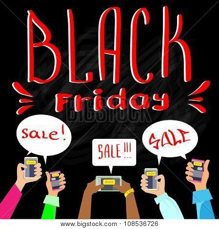Hand Smart Phone Communication Send Chat Message Black Friday