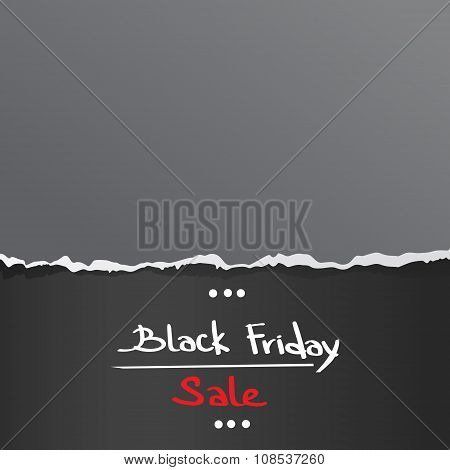 Black Friday Torn Curved Wrapped Paper Sale Red Tag